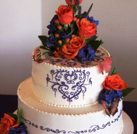 Purple piping on buttercream