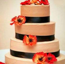 Chocolate ribbons & sugar flowers