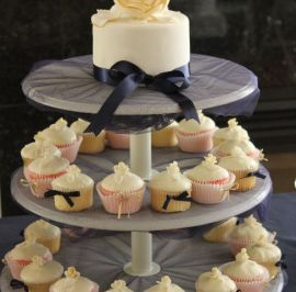 Engagement celebrated with mini rose toppers