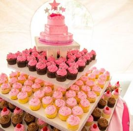 Pink quinceanera cupcake display