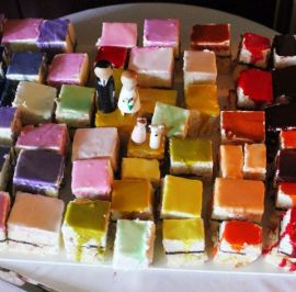 Rainbow colored petit fours